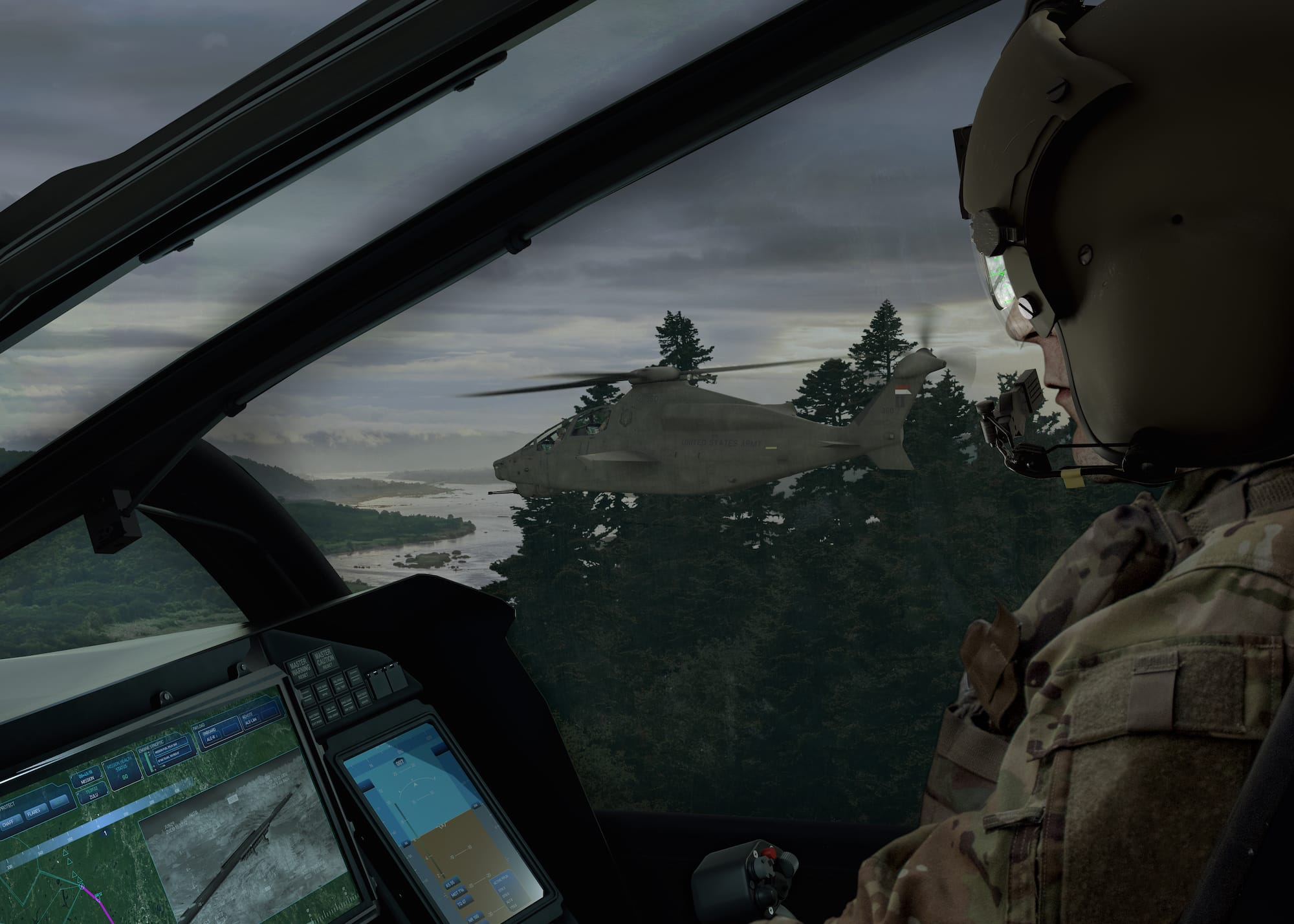 Cockpit view of the Bell 360 Invictus in flight. The Bell 360 is Bell's entry to the U.S. Army's Future Aerial Reconnaissance Aircraft (FARA) and Future Vertical Lift (FVL) competition.