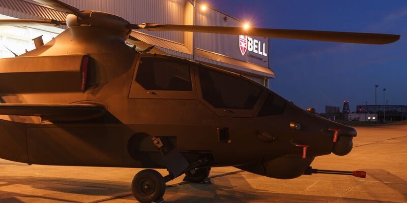 Bell 360 outside a hangar at night. The Bell 360 is Bell's entry to the U.S. Army's Future Attack Reconnaissance Aircraft (FARA) and Future Vertical Lift (FVL) competition.