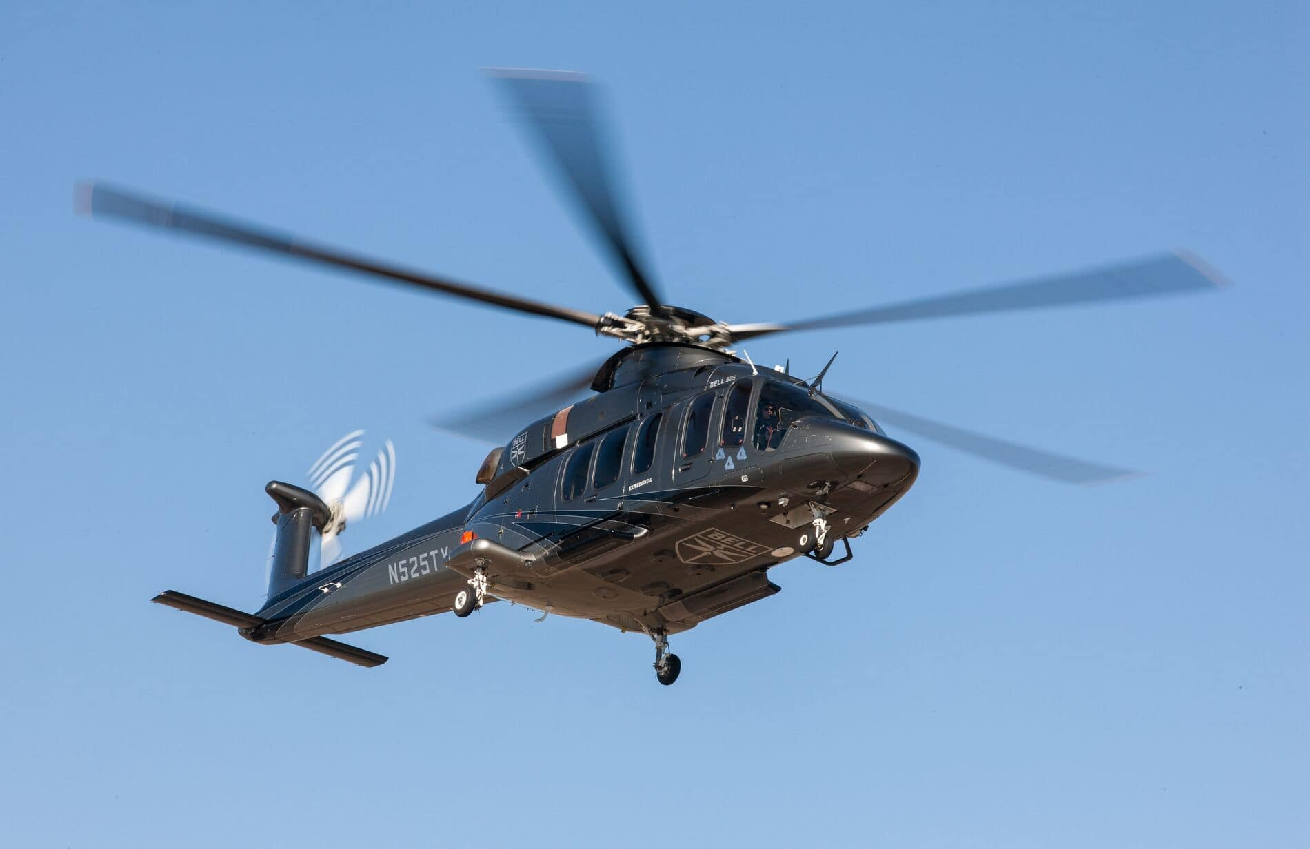 Bell 525 In Flight Three Quarter View Blue Sky