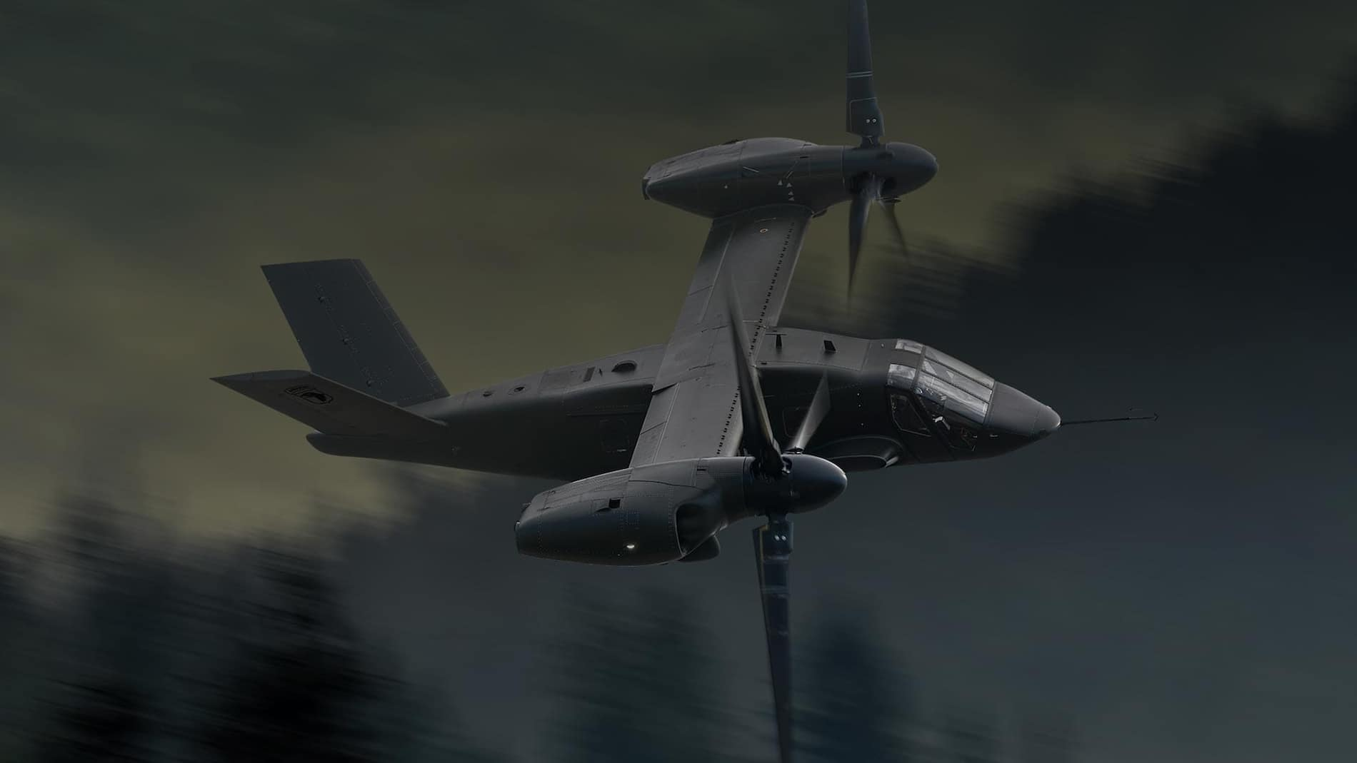 Bell V-280 Valor hovering showing a fast rope mission - Bell's entry to the U.S. Army's Future Long Range Assault Aircraft for the Future Vertical Lift (FVL) competition.