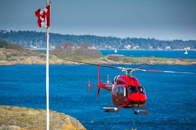 Bell 429 Canadian Coast Guard Helicopter Over Water