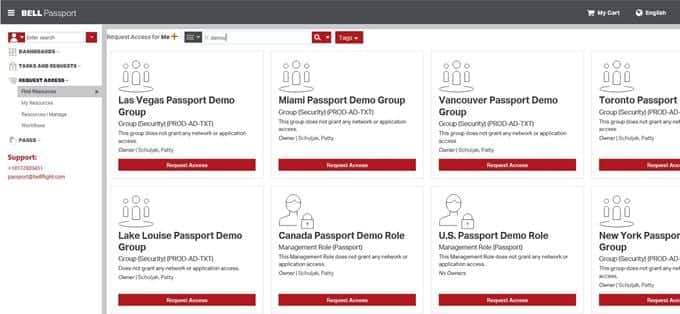 Image of Bell Passport search screen